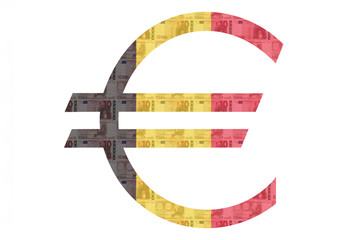 Belgian Euro sign with scanned euros