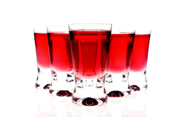 glasses of red vodka