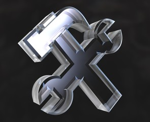 industrial working symbol in transparent glass (3d)