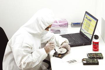 inspecting hard drive