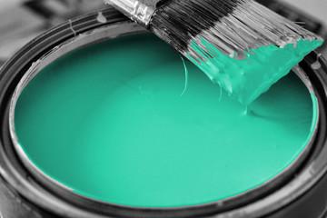 bucket of turquoise paint