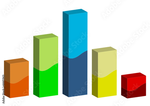 3D graphic bars isolated over white background