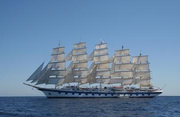 Royal Clipper at anchor off Ponza, Italy