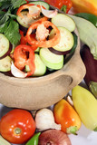 fresh vegetables in a clay pot poster