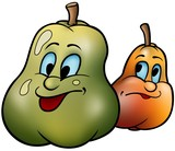 Two Pears - cartoon illustration poster