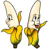 Two Bananas - cartoon illustration poster