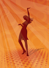 Discotheque background - Dancing woman silhouette