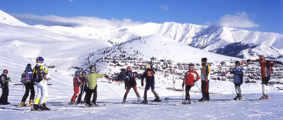Skiers on the mountain