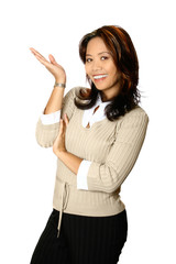 Female Asian businesswoman in a gesture of presenting,