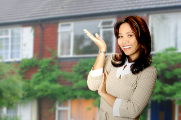 housing agent presenting a beautiful property