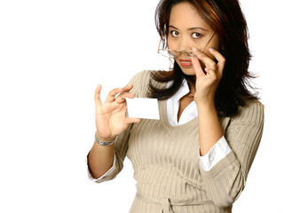 Asian businesswoman half pulling her glasses off