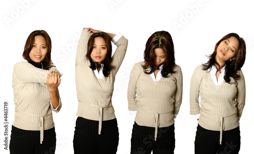 Series of female office worker doing stretching exercises,