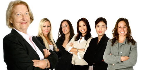 Mature  caucasian  leading a team of business women