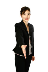 Oriental businesswoman stretching out right hand