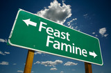 """""""Feast or Famine"""" Road Sign with dramatic clouds and sky poster"""