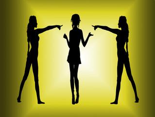 Girls pointing