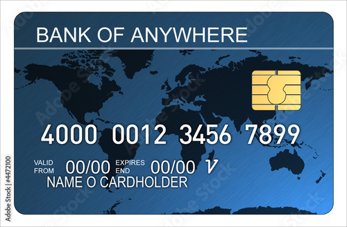 Credit card with world map