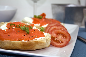 Bagel and Cream Cheese with Lox and Tomatoes