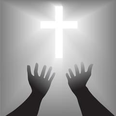 Supplication Hands Cross Silhouette