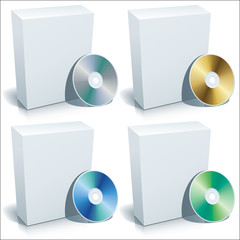 Blank box and DVD, vector