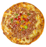 Top view of a hawaiian pizza isolated on white background poster