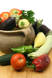 organic vegetables in a clay pot poster