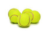 Many tennis balls isolated on the white