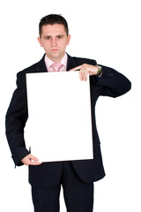 business man holding a cardboard