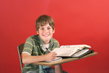 child at desk in school poster