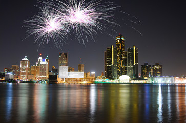Fireworks celebration over cityscape