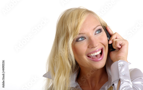 Businesswoman calls on phone