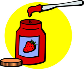marmalade jar and kitchen knife