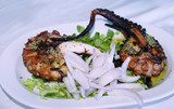 A big grilled octopus with white cream poster