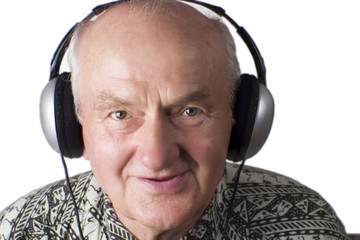 Mature man/ grandfather listening to music