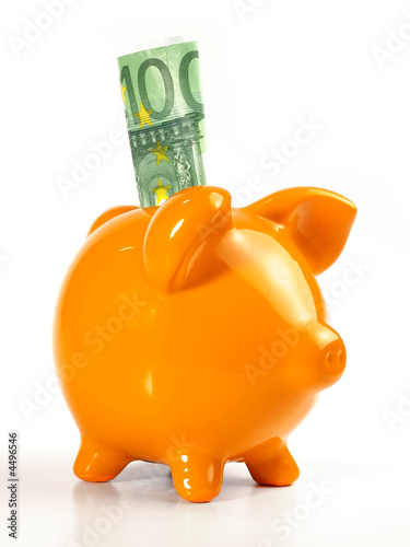 Sparschwein / orange - 100 EUR