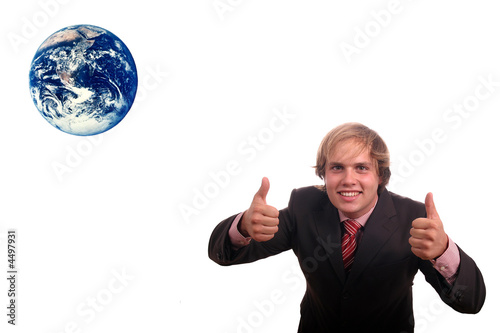 business man sucess protect the earth