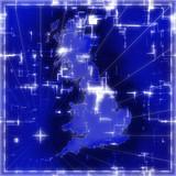 Hi tech map of Great Britain poster