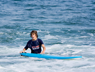 Boy and Surfboard