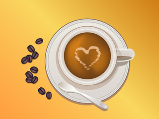 Illustration of coffee cup and coffee beans