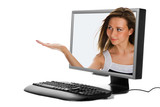 beauty woman in  plasma monitor poster