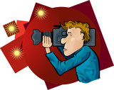 Cameraman with spotlights poster