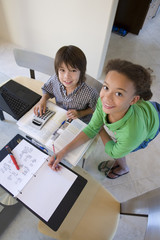 Children working on homework