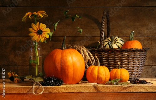 Autumn still life with pumpkins