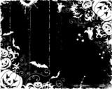 Grunge halloween frame with bats, ghost & pumpkin, vector poster