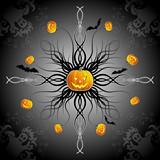 Abstract halloween background with bats, ghost & pumpkin poster