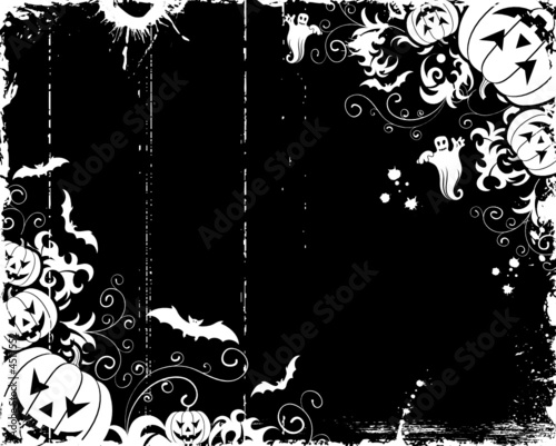 Grunge halloween frame with bats, ghost & pumpkin, vector