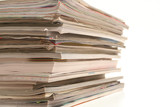 magazines stacked isolated on white poster