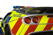 Police sports car on white background