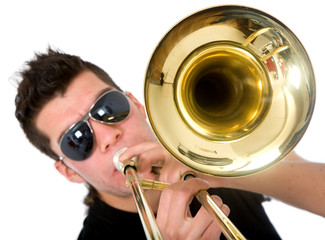 guy playing a trumpet