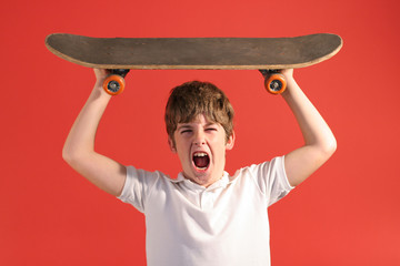 screaming crazy skateboard kid